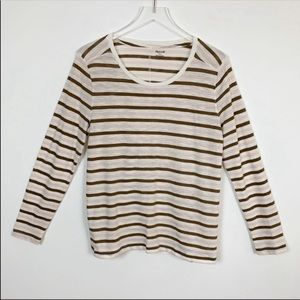 Madewell Long Sleeve Striped Scoop T-Shirt Large